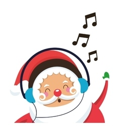 Santa claus listening to music icon vector