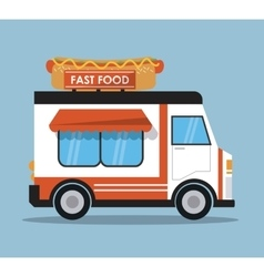 Hot dog truck fast food icon graphic vector