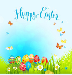 Easter background with eggs and flowers vector image