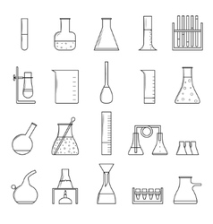 Chemical test tubes thin line icon set vector