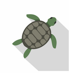 green sea turtle icon flat style vector image