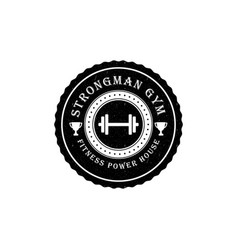 Gym logo or badge in vintage style vector