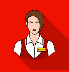 restaurant waitress with a badge icon in flat vector image