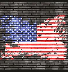 american flag on brick wall vector image
