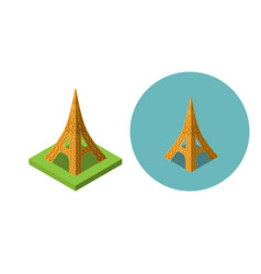 Eiffel tower icons in flat isometric style vector