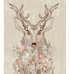 Cartoon background with deer and flowers vector