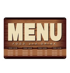 Menu Woode Beckground Design vector image