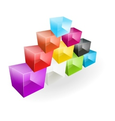Color glass cubes made a pyramid vector image