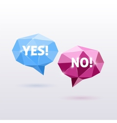 Yes and no triangle polygonal speech bubbles vector
