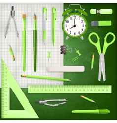 Set of colored school supplies background eps 10 vector