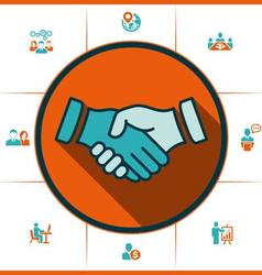 Flat icons handshake for business and finance vector