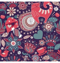 Flowers seamless pattern with decorative elements vector