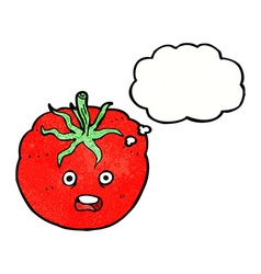 Cartoon tomato with thought bubble vector