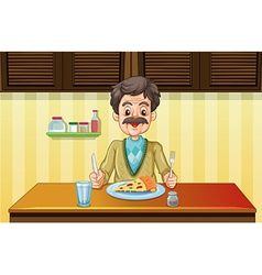 Old man eating in the dining room vector