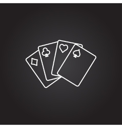 Game cards icon on dark vector