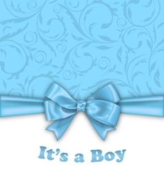 Boy baby shower invitation card with blue bow vector