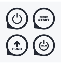 Power icons start engine symbol push arrow vector