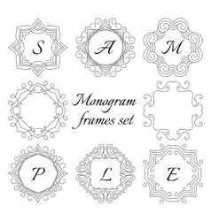 8 monogram frames Retro style set Hand drawn vector image vector image