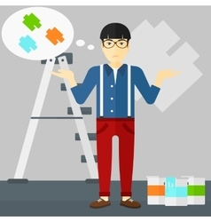 Man choosing paint color vector