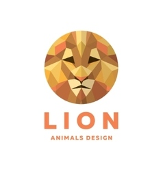 Lions Head into a Polygon design style Logos vector image
