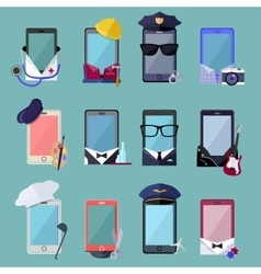 Set of smarphone in costume different professions vector