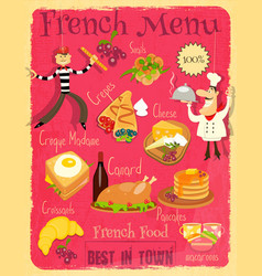 French food menu vector
