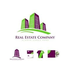 Real estate building skyscraper logo icon vector