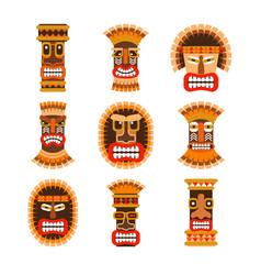African ritual masks set vector