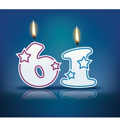 Birthday candle number 61 vector image vector image