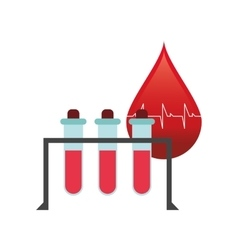 Blood drop cardiogram and test tubes icon vector