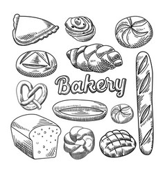 bread bakery food hand drawn doodle vector image