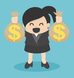 business woman holding money bag vector image vector image