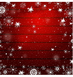 christmas snowflakes on a red wood background vector image