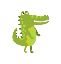 Crocodile walking on two legs flat cartoon green vector