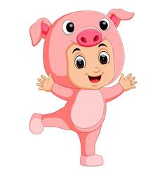 cute boy cartoon wearing pig costume vector image vector image