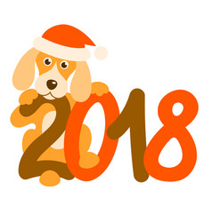 Dog and 2018 vector