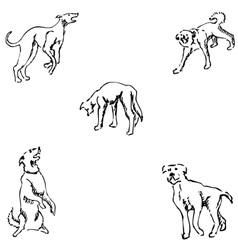 Dogs Sketch pencil Drawing by hand vector image vector image