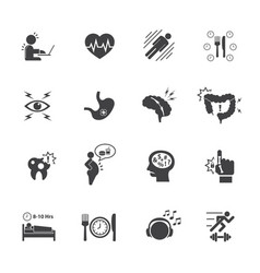 effect of office syndrome icons set vector image vector image