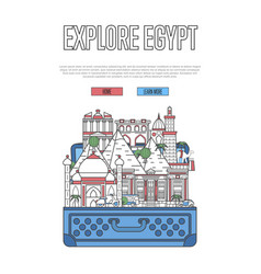 explore egypt poster with open suitcase vector image
