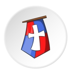 Flag of crusaders icon cartoon style vector