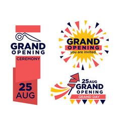 Grand opening ceremony on 25 august emblems set vector