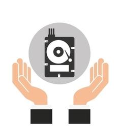 hands businessman data hard drive disk vector image