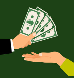 hands with money vector image vector image
