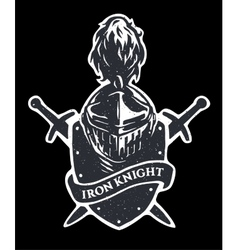 Helm knight swords and shield vector image vector image