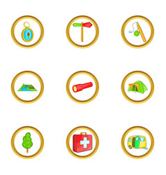 Hiking icons set cartoon style vector