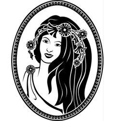 Medallion vignette portrait of a girl in a wreath vector image