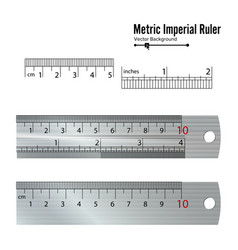 Metric imperial rulers centimeter and inch vector