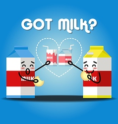 Milk cartons drinking milk and cracker vector