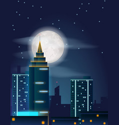 poster design with night city buildings vector image