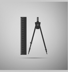 Ruler and compass icon geometric equipment vector